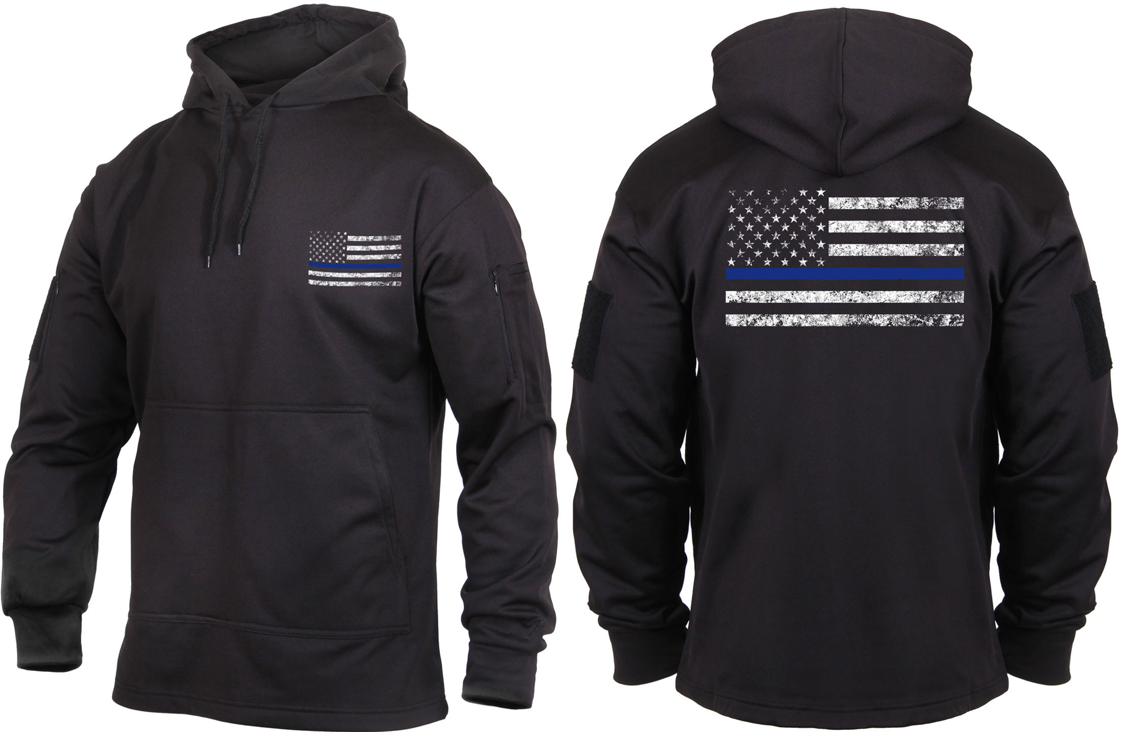 Black Concealed Carry Thin Blue Line Tactical Hoodie Sweatshirt cfa97c196ec