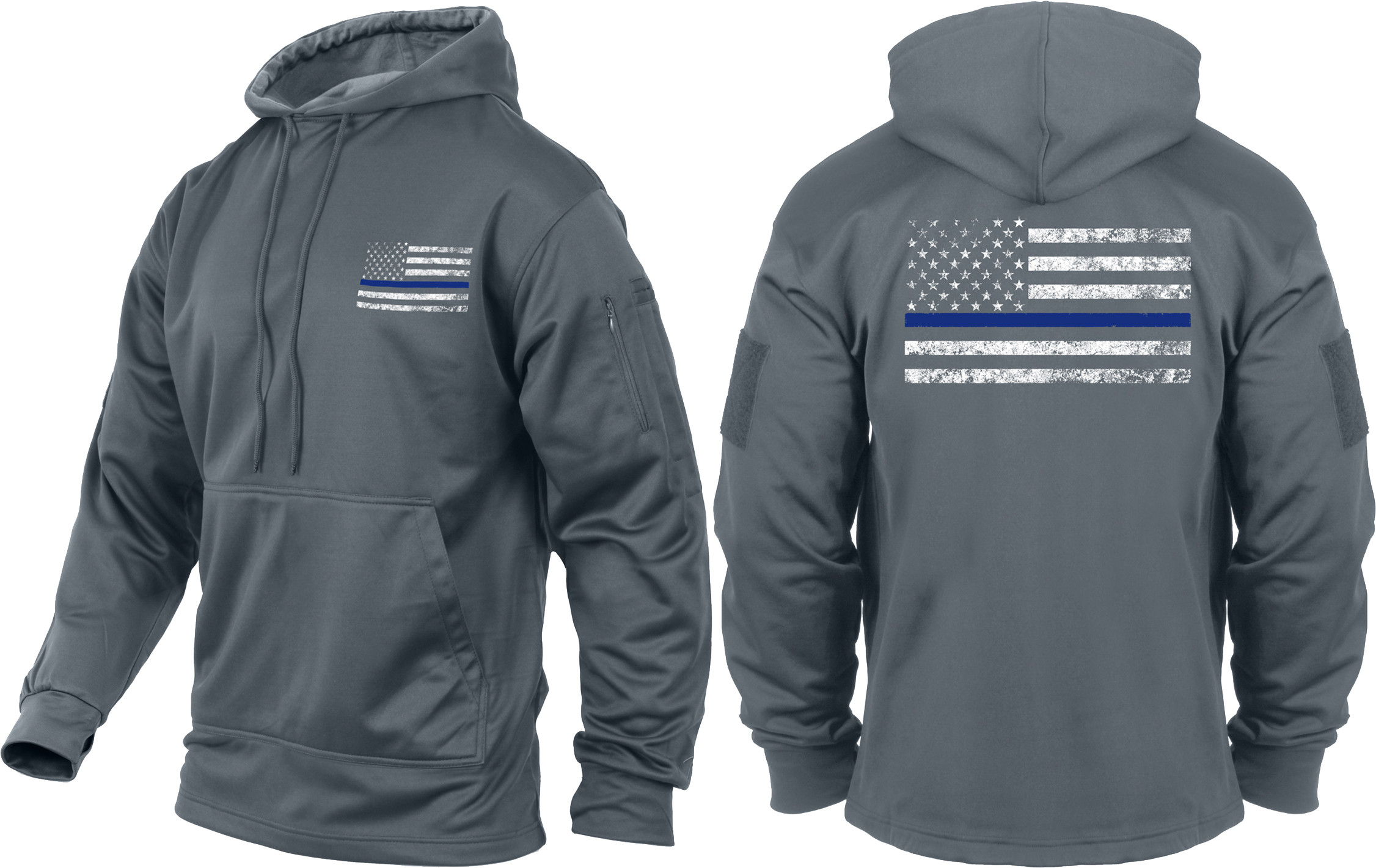 Grey Concealed Carry Subdued Thin Blue Line Hoodie Sweatshirt da1bc85bc42