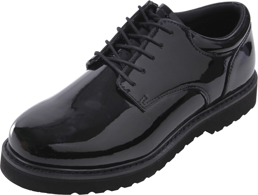 Black Hi-Gloss Shiny Military Uniform Shoes with Work Sole 1cd9406ac3a