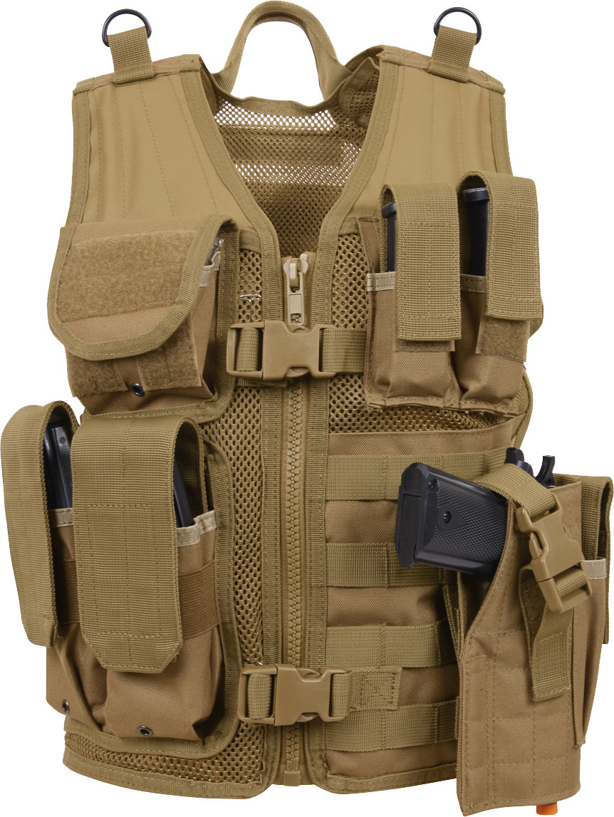 Kids Coyote Brown Tactical MOLLE Cross Draw Vest 1a9672f30f9