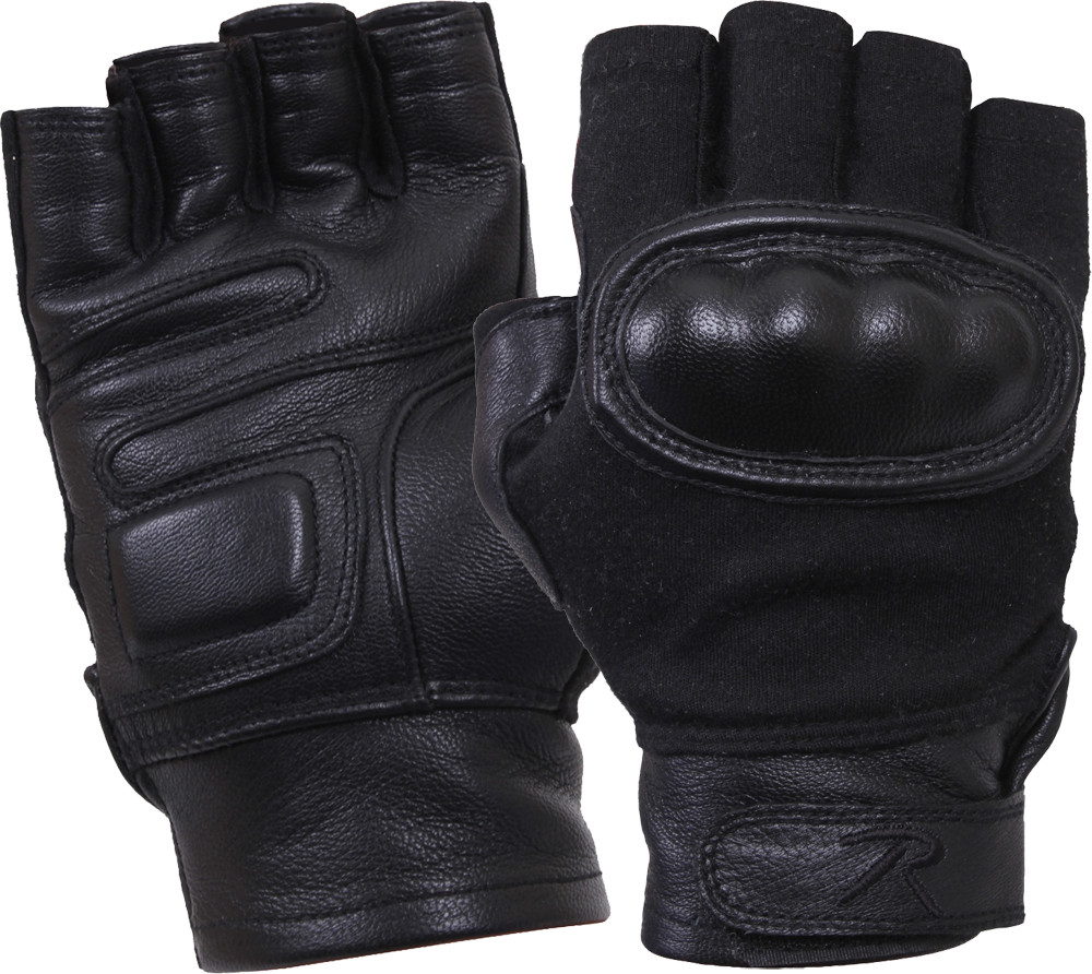 Black Military Cut Resistant Hard Knuckle Fingerless Tactical Gloves 3c0f79c84bd