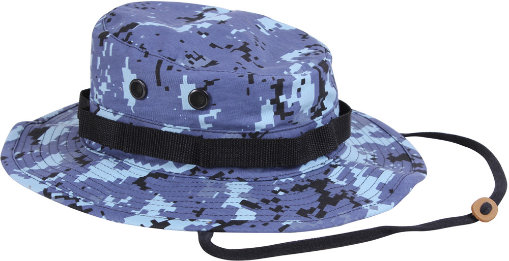 More Views. Sky Blue Digital Camouflage Military Wide Brim Boonie Hat 1556b07dfa59