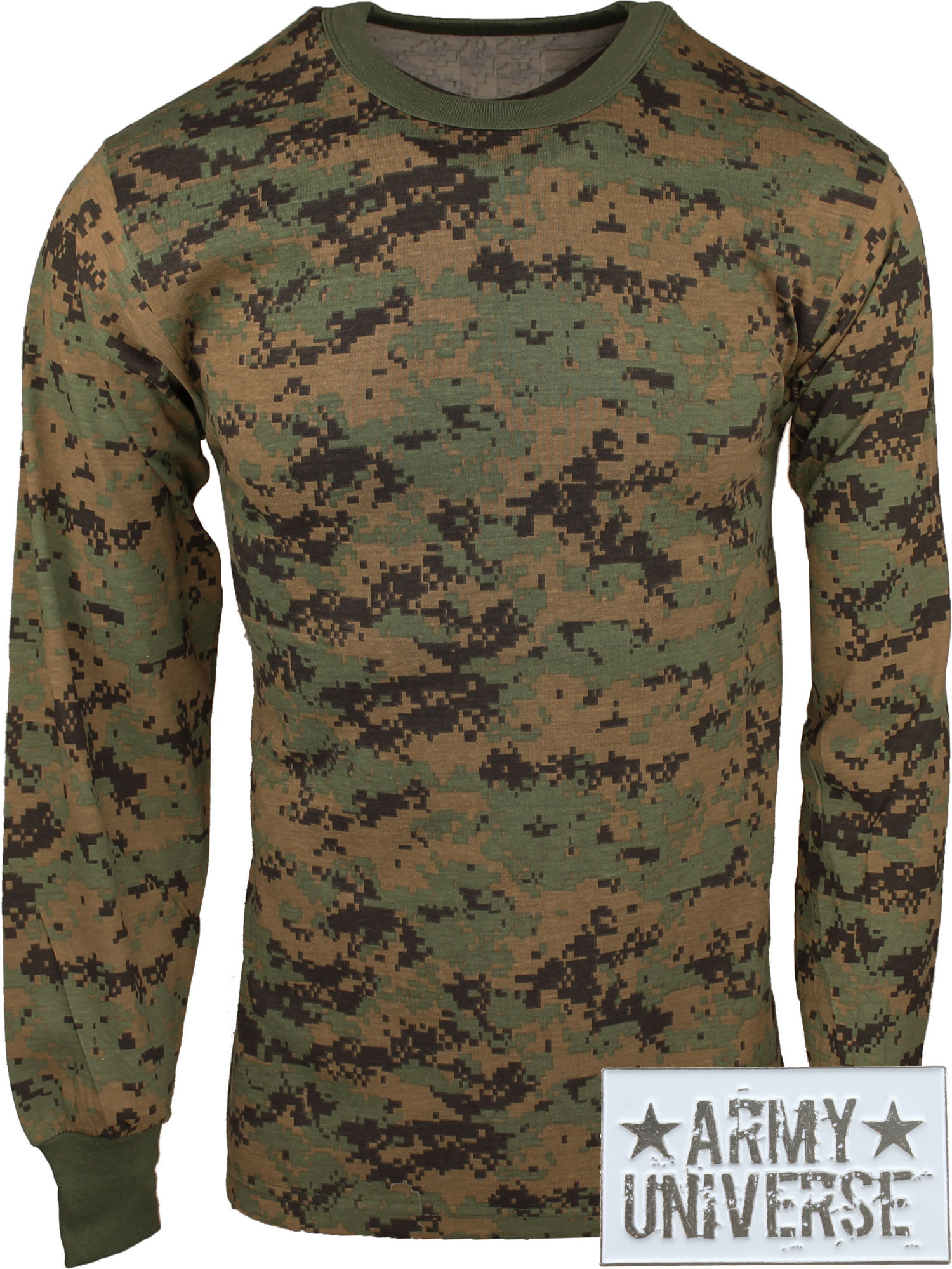 ... Woodland Digital Camouflage Military Crewneck Long Sleeve T Shirt w   ArmyUniverse® Pin 383c3882689