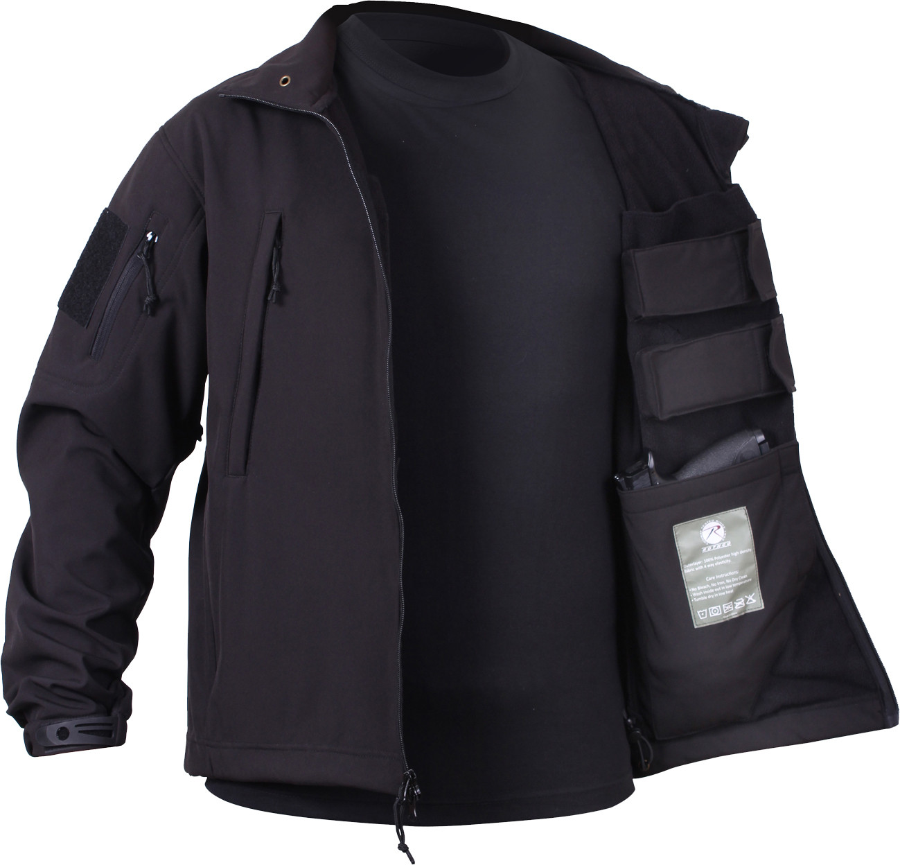 Black Military Ambidextrous Concealed Carry Soft Shell Tactical Jacket f95a9da3f7e