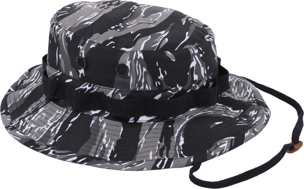 60ff33a444857 Urban Tiger Stripe Camouflage Military Wide Brim Boonie Hat