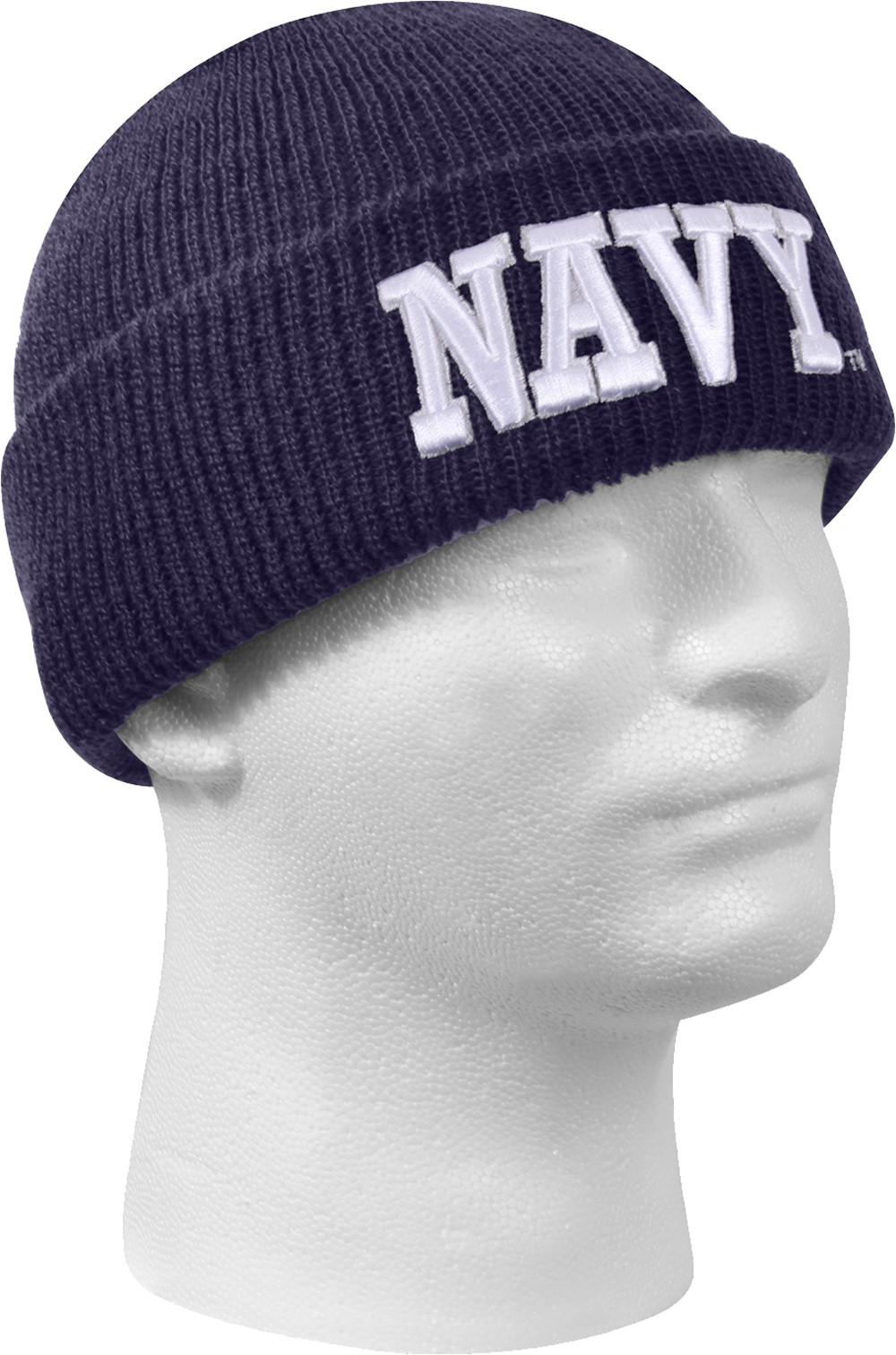 Navy Blue Deluxe Embroidered Navy Knitted Acrylic Winter Watch Cap 8c1b71d02