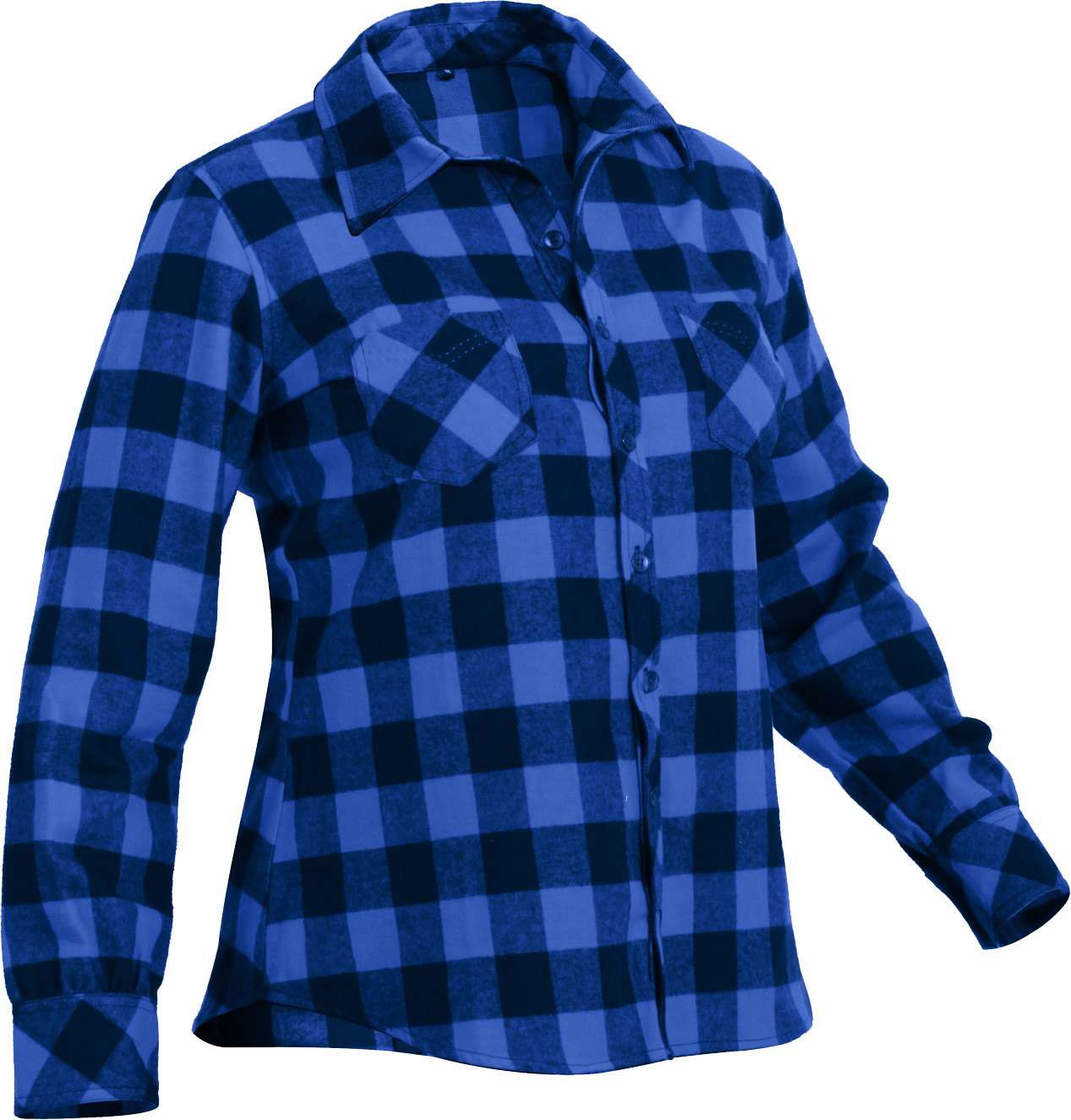 Women 39 s blue plaid tapered cut button down flannel shirt for Plaid button down shirts for women