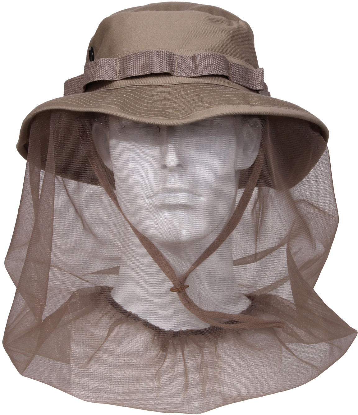 Khaki Military Wide Brim Boonie Hat With Mosquito Netting ee13bce1c7a