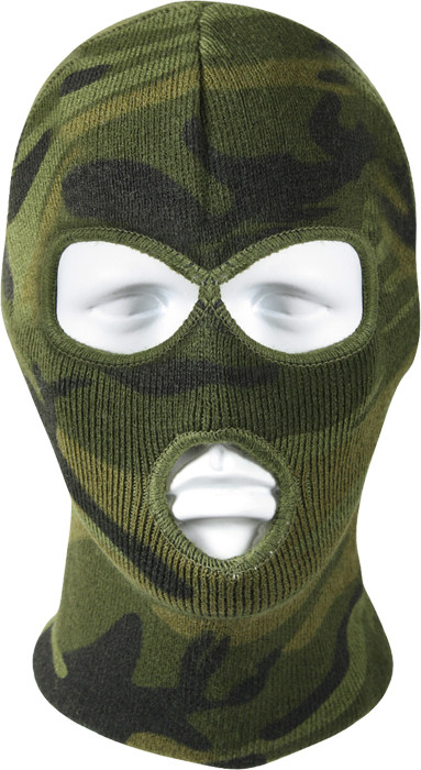Woodland Camouflage Military Deluxe Three Hole Acrylic Face Mask 551bc07848e