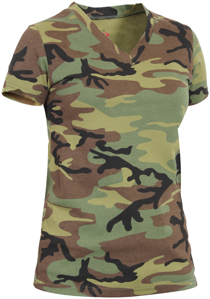 Womens Woodland Camouflage V-Neck Long Length Military T-Shirt 19d8bbdd392