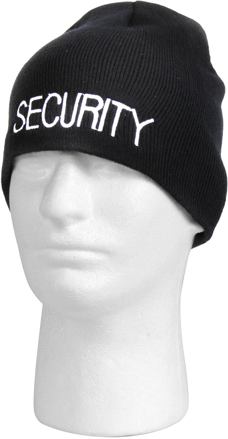Black Security Embroidered Knitted Winter Hat Acrylic Skull Cap a8134f5b7fa