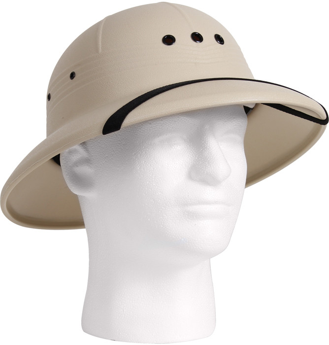 e0dec3c87267b Khaki Vietnam Style Light-Weight Safari Pith Helmet
