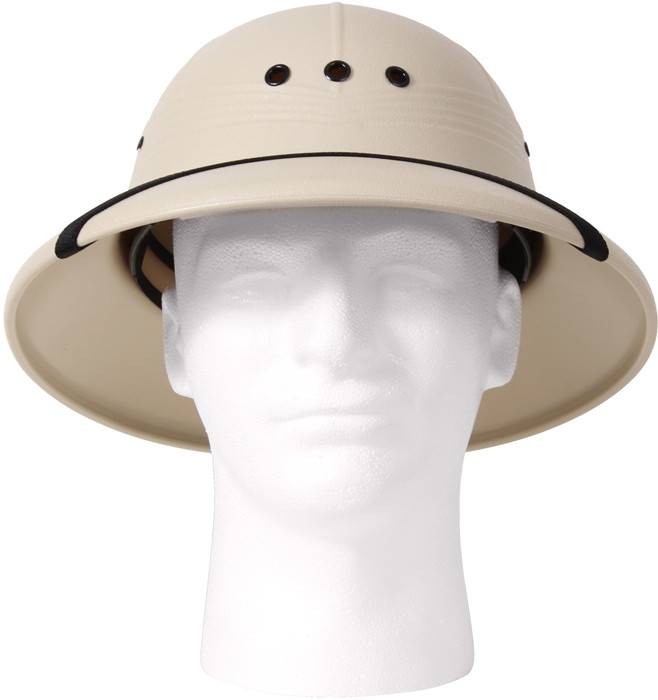33254593cc1f5 More Views. Khaki Vietnam Style Light-Weight Safari Pith Helmet ...