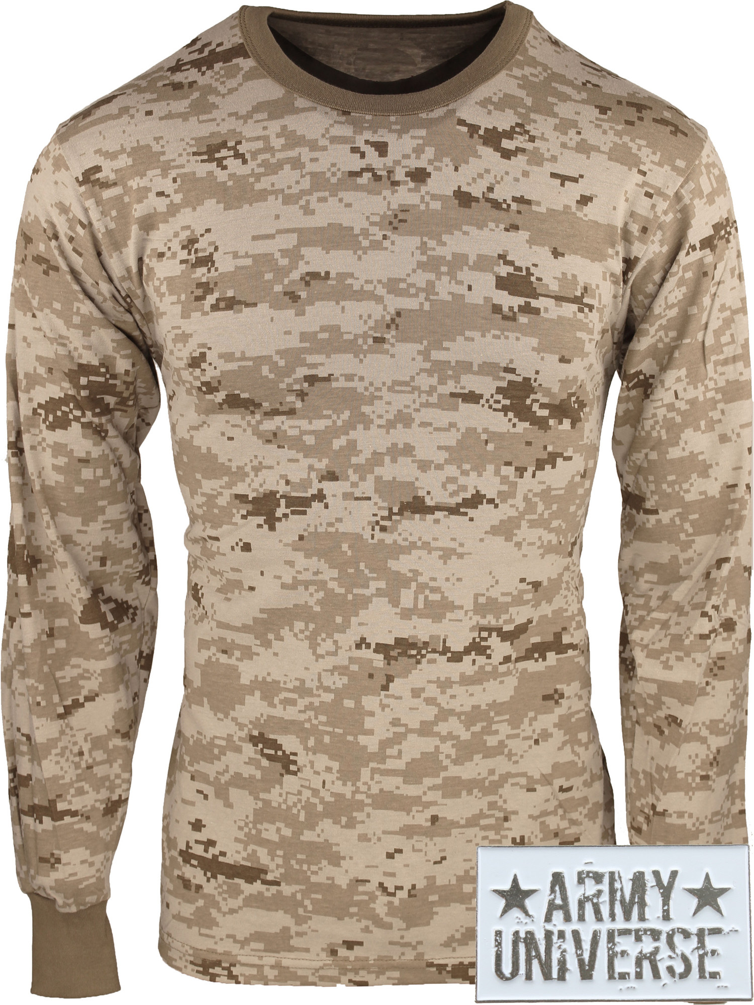 ... Desert Digital Camouflage Military Crewneck Long Sleeve T Shirt w   ArmyUniverse® Pin ... 2d6a7905ea2