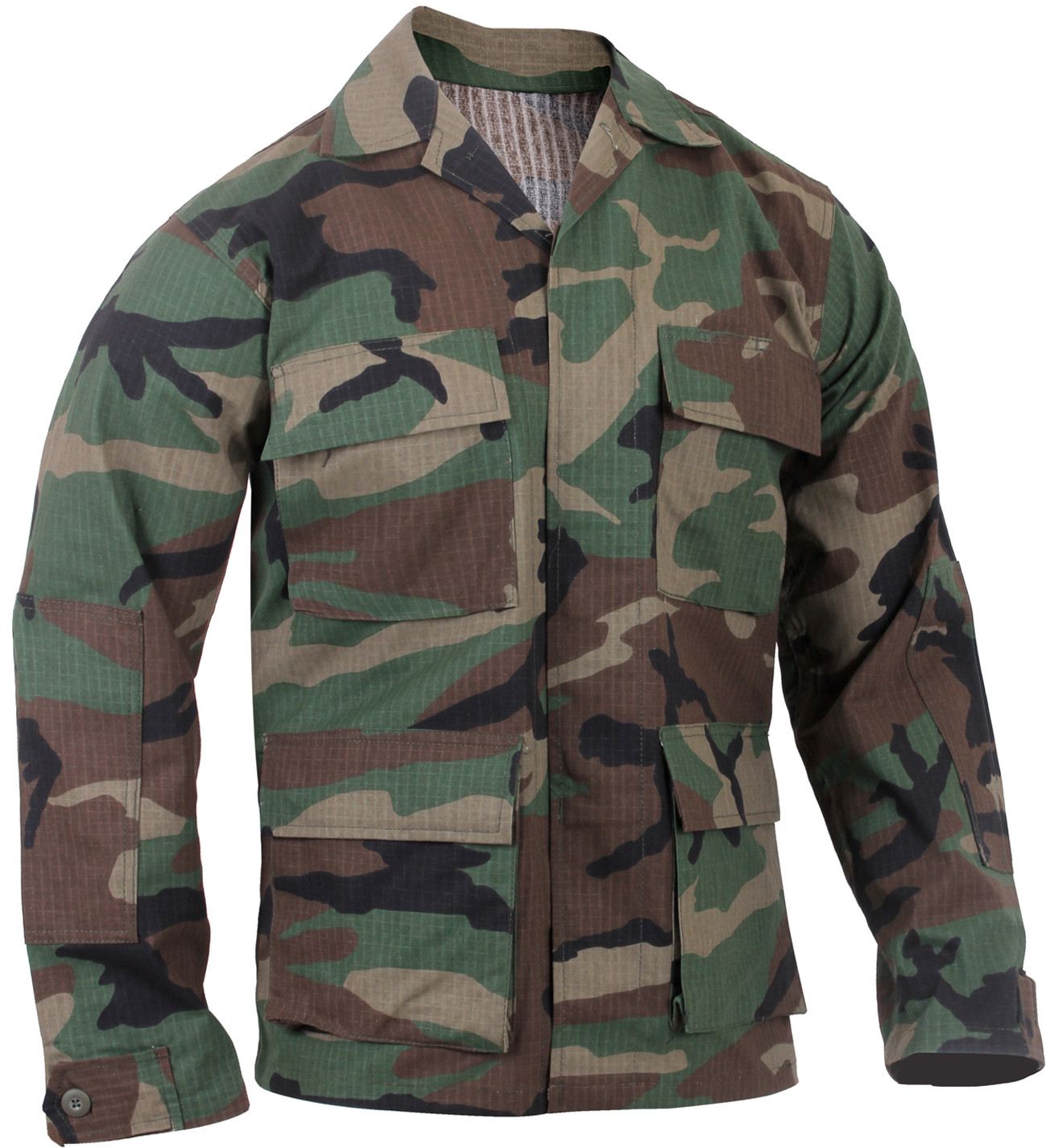 Woodland Camouflage Rip-Stop Military BDU Fatigue Shirt 0ed0aabb5d