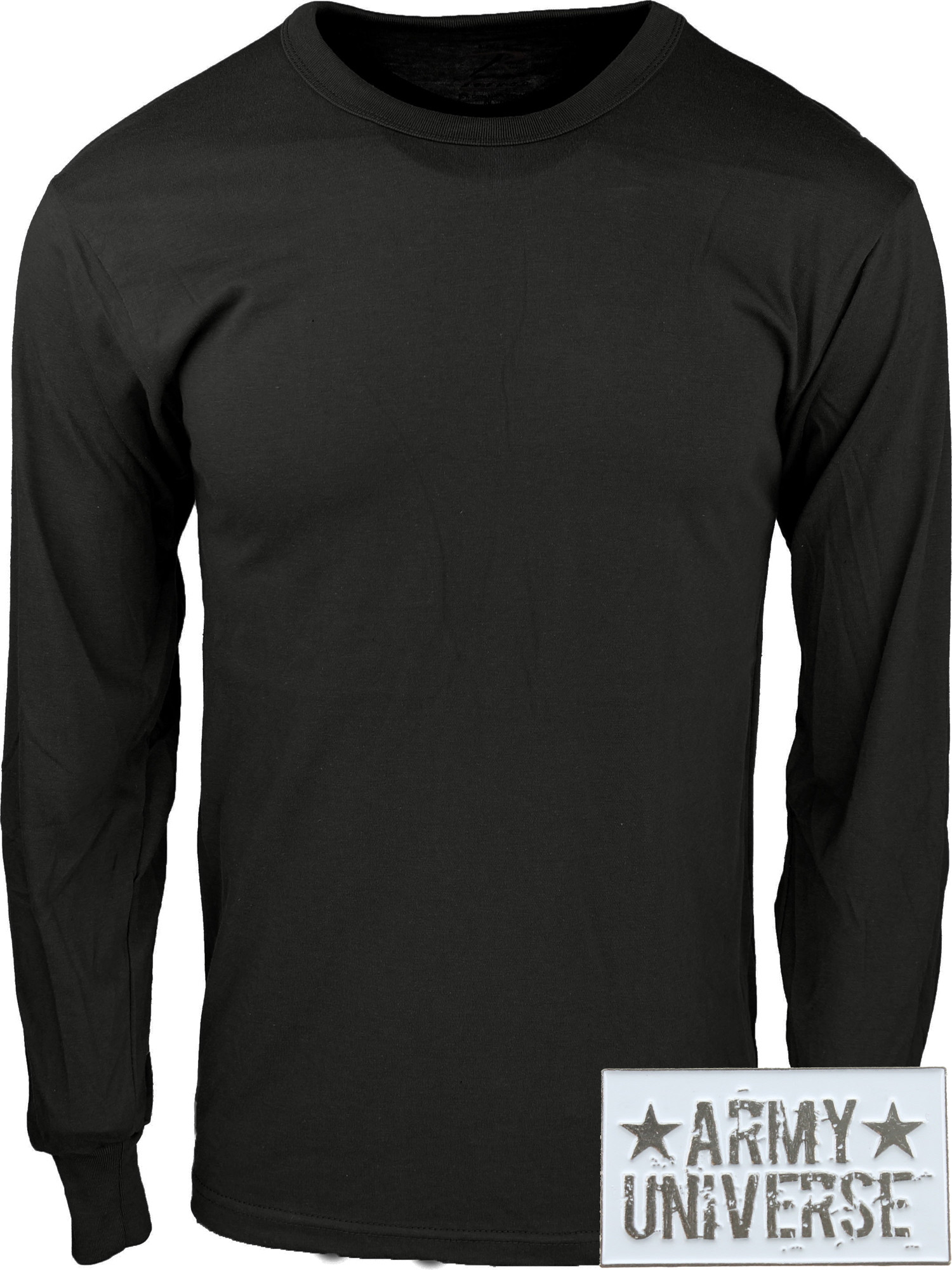 ... Black Military Crewneck Long Sleeve T Shirt w  ArmyUniverse® Pin ... 69b49eb2f64