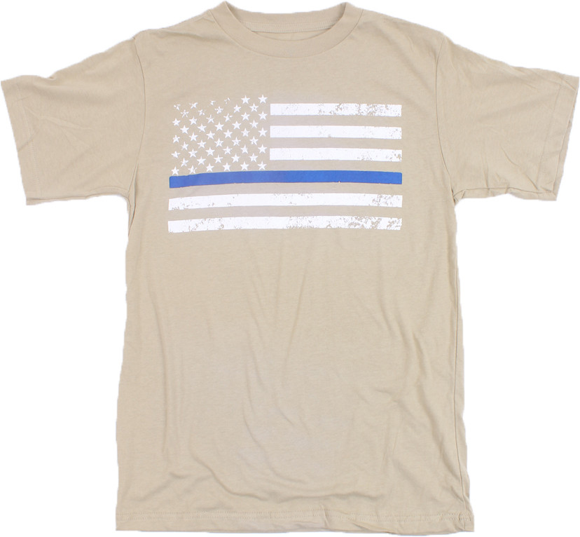Desert Sand Distressed Thin Blue Line US American Flag White Stripe GHOST  T-Shirt Tee IRR 99a90b869ed