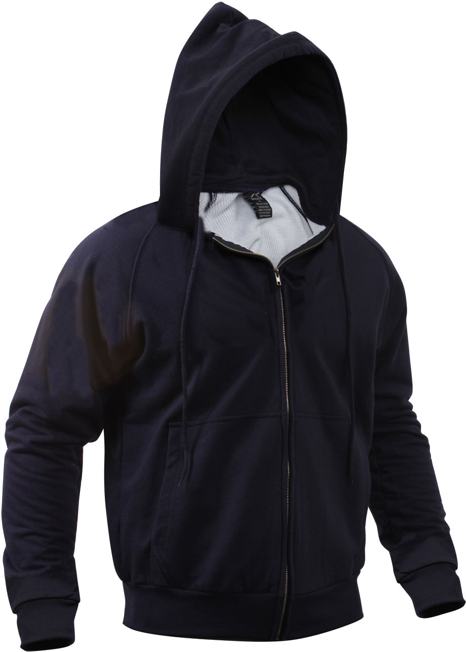 Navy Blue Thermal Lined Zip Up Hoodie Sweatshirt 3eddefc5527