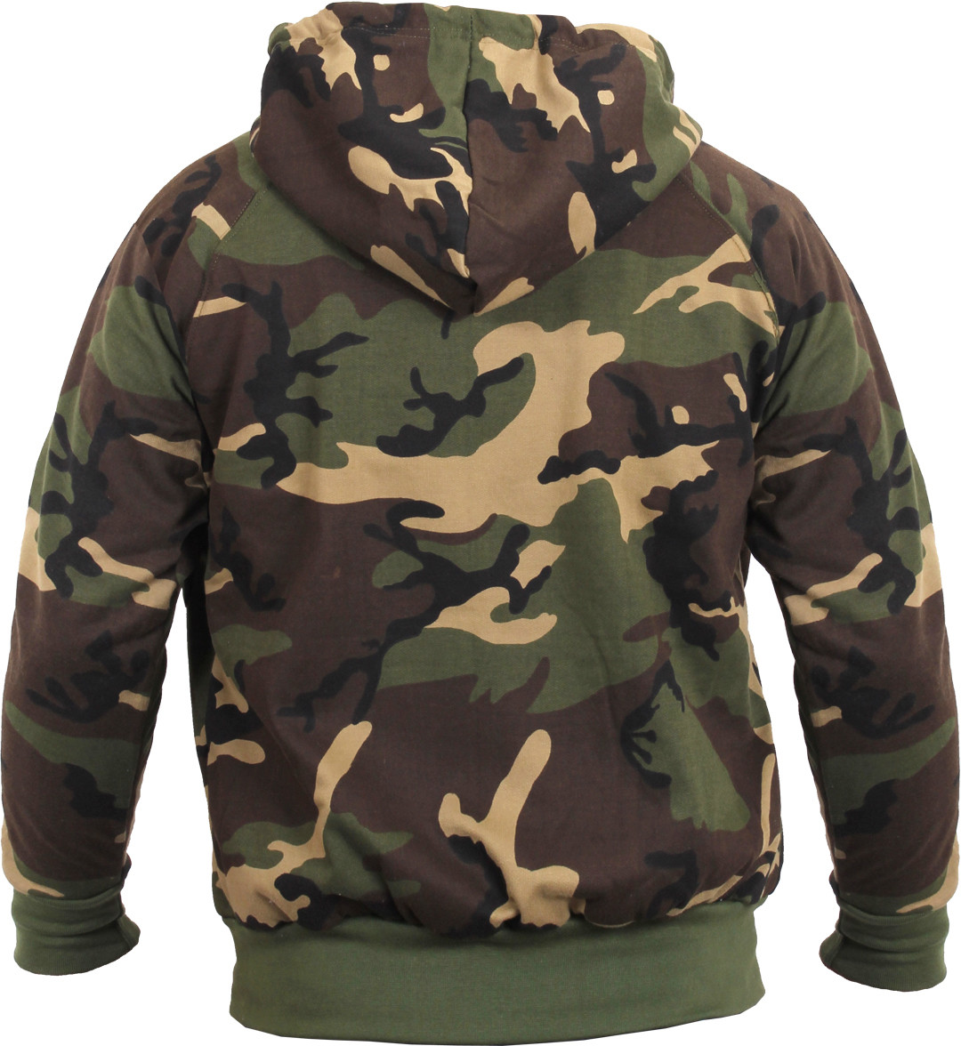 Woodland Camouflage Thermal Lined Zip Up Hoodie Sweatshirt 036507150d5