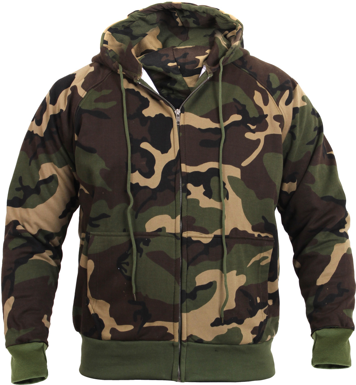 More Views. Woodland Camouflage Thermal Lined Zip Up Hoodie Sweatshirt ... 2a9268d806a
