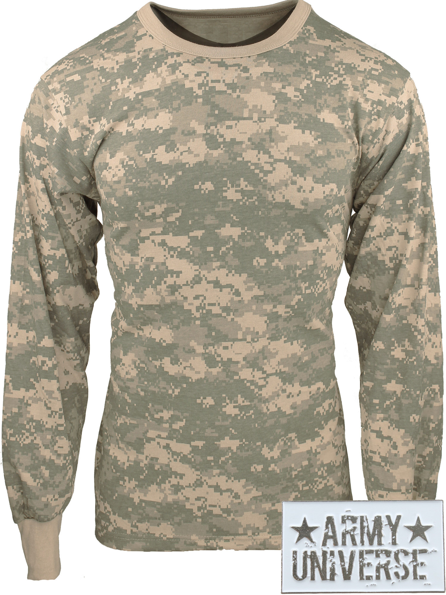 ... ACU Digital Camouflage Military Crewneck Long Sleeve T Shirt w   ArmyUniverse® Pin ... de2427aff