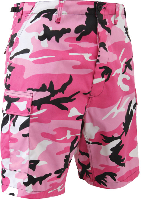 Pink Camouflage Combat Military Cargo BDU Shorts be0b9402590