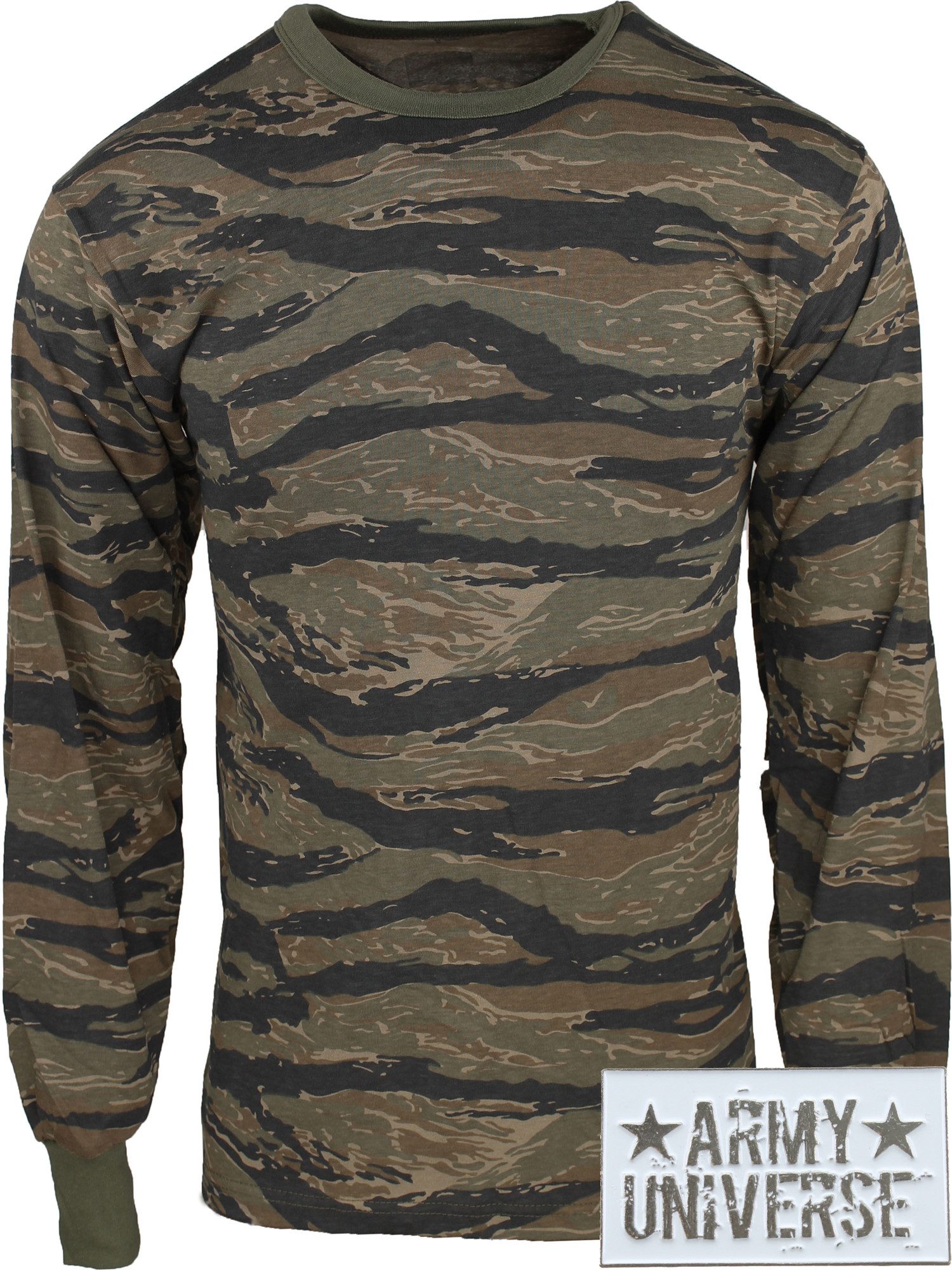 ... Tiger Stripe Camouflage Military Crewneck Long Sleeve T Shirt w   ArmyUniverse® Pin ... 502f80b1a
