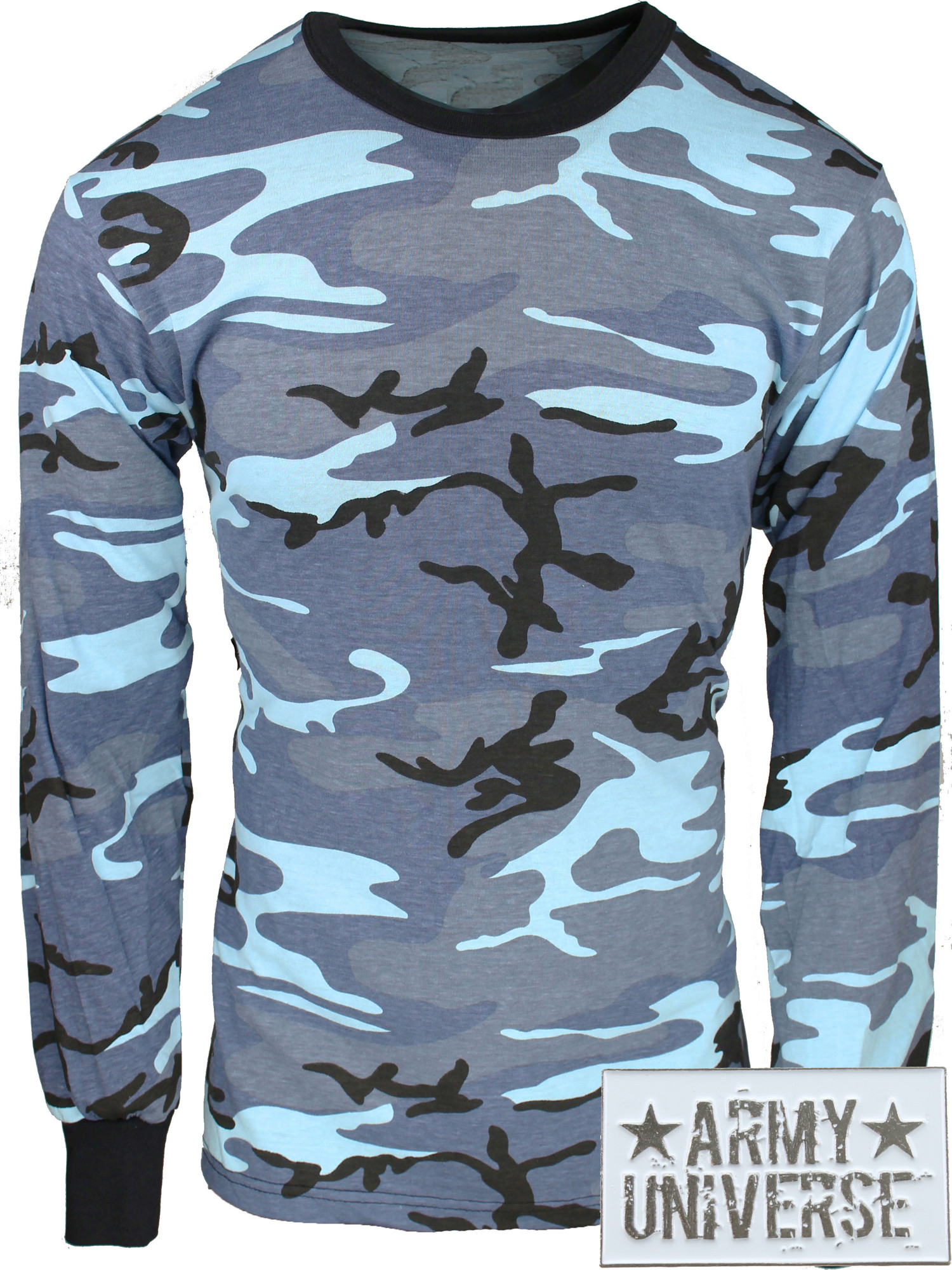 ... Light Blue Camouflage Military Crewneck Long Sleeve T Shirt w   ArmyUniverse® Pin ... b2e48e83589