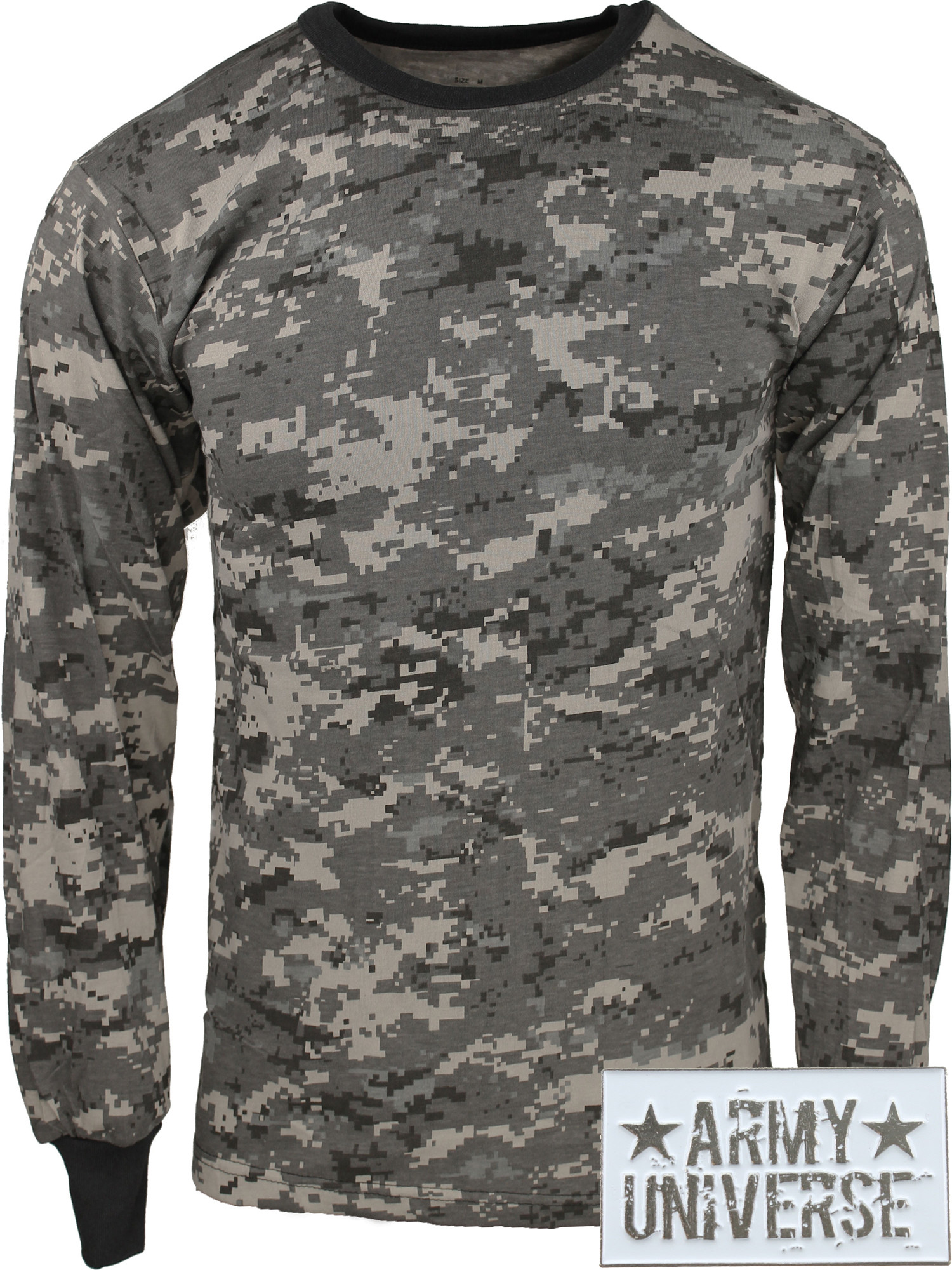 58fc03836de2 ... Subdued Urban Digital Camouflage Military Crewneck Long Sleeve T Shirt  w/ ArmyUniverse® Pin ...