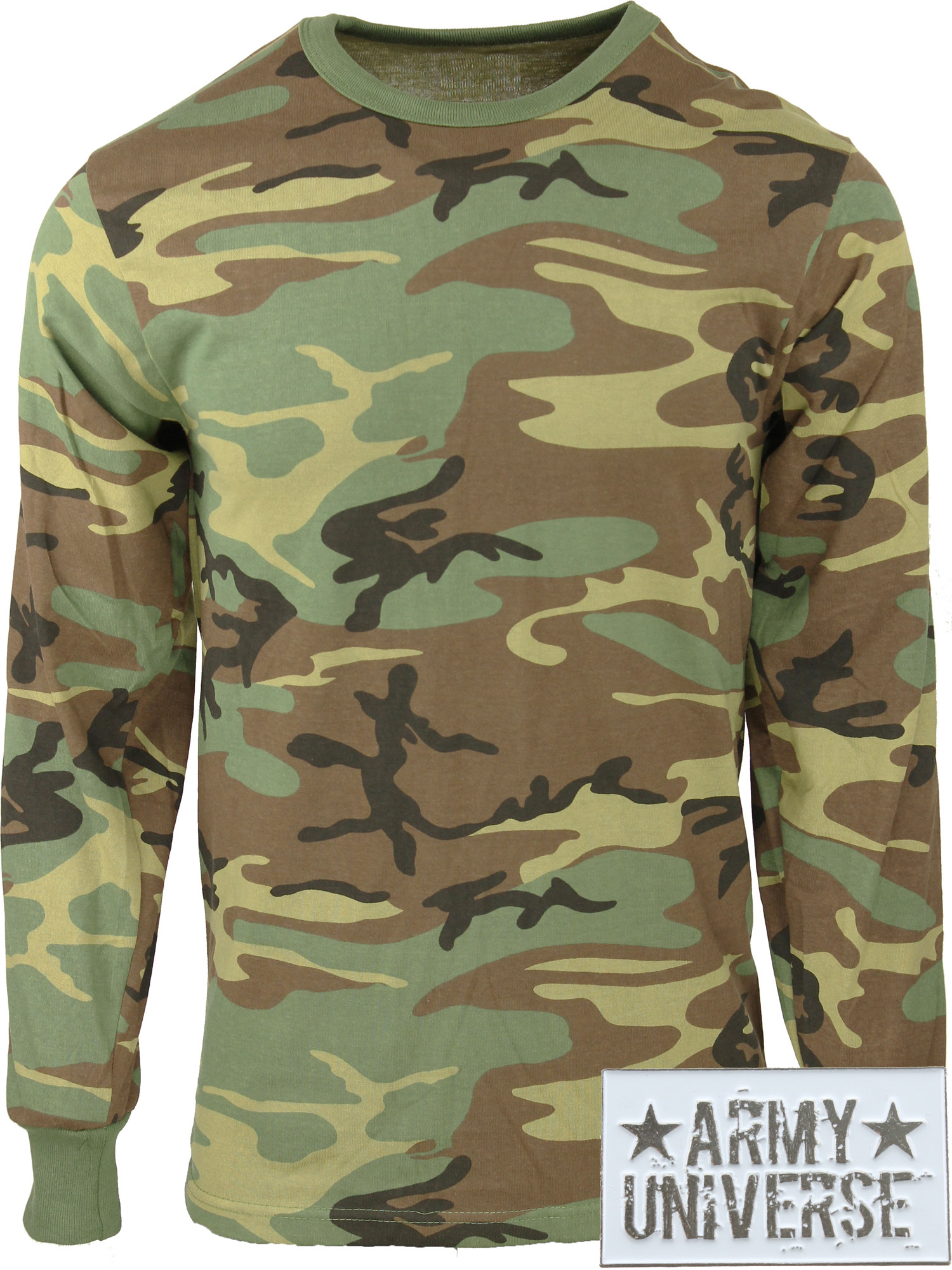 ... Woodland Camouflage Military Crewneck Long Sleeve T Shirt w   ArmyUniverse® Pin ... ba63131eb65