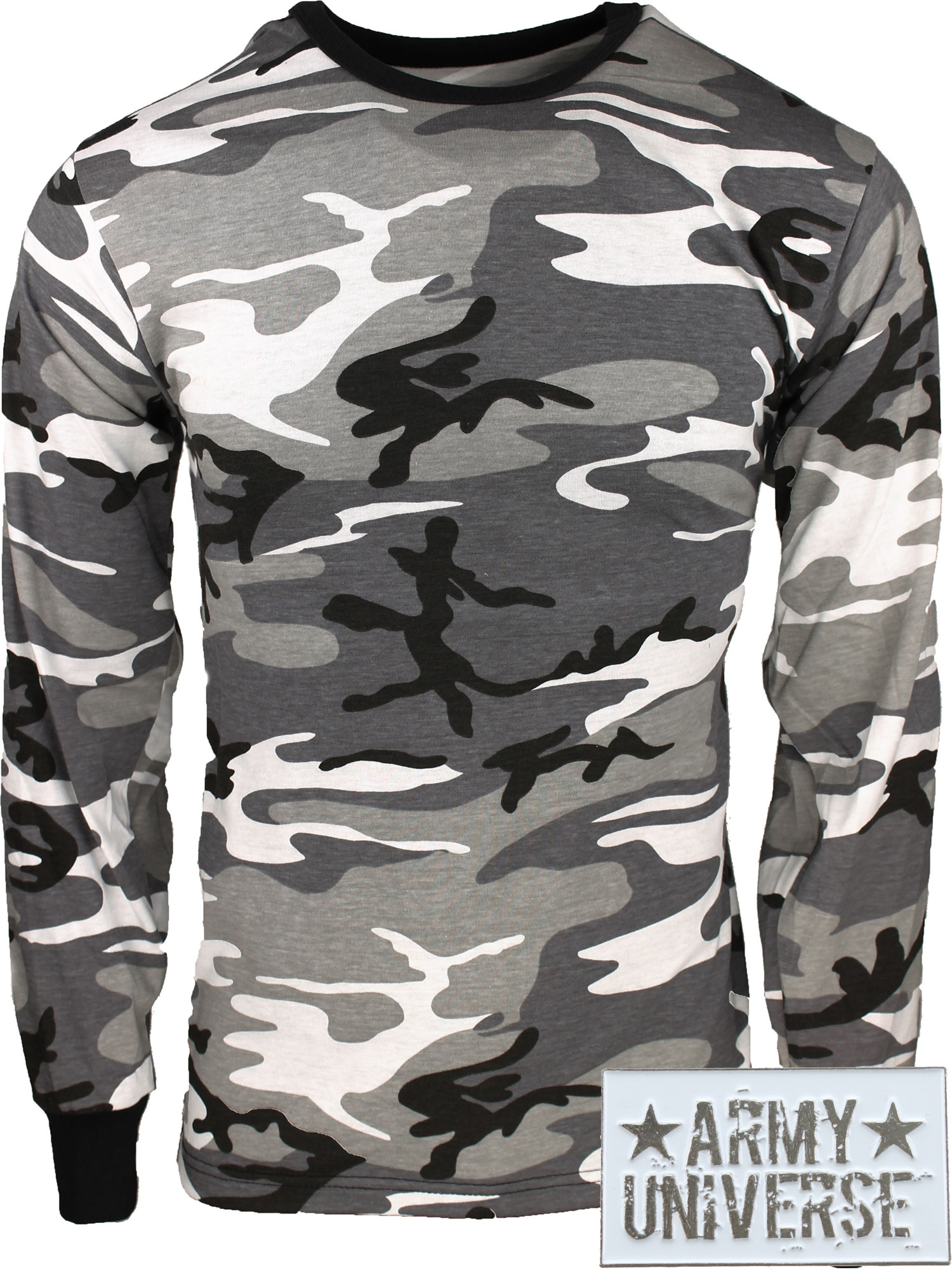 ... City Camouflage Military Crewneck Long Sleeve T Shirt w  ArmyUniverse®  Pin ... 519d36192