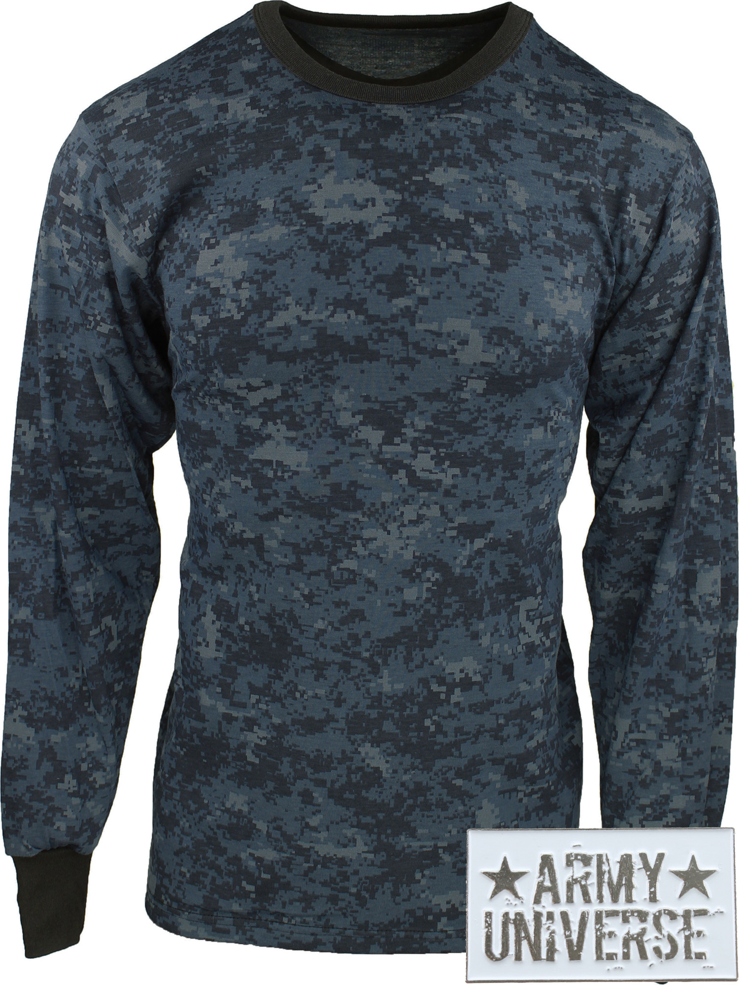 ... Midnight Blue Digital Camouflage Military Crewneck Long Sleeve T Shirt  w  ArmyUniverse® Pin ... 1f00f7788b6