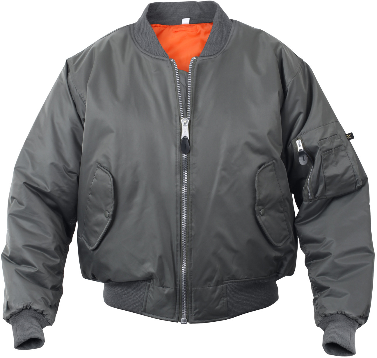 Metal Grey Military Air Force MA-1 Bomber Flight Jacket