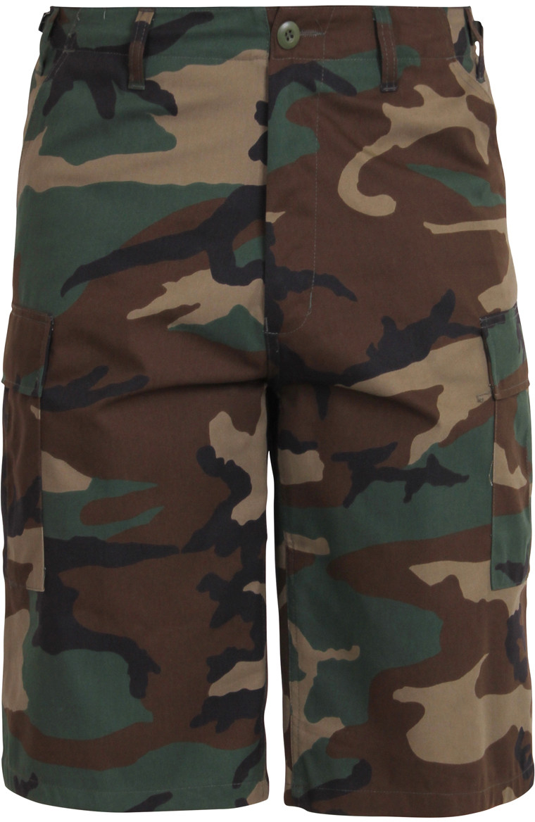 Woodland Camouflage Military Long BDU Cargo Shorts f73b384901d