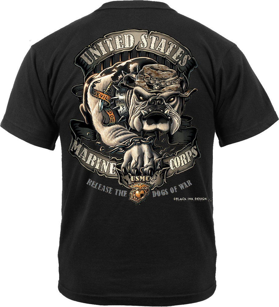 Anchor And Release Clothing >> Black Ink Design 2 Sided USMC Marine Corps Devil Dog Bulldog T-Shirt