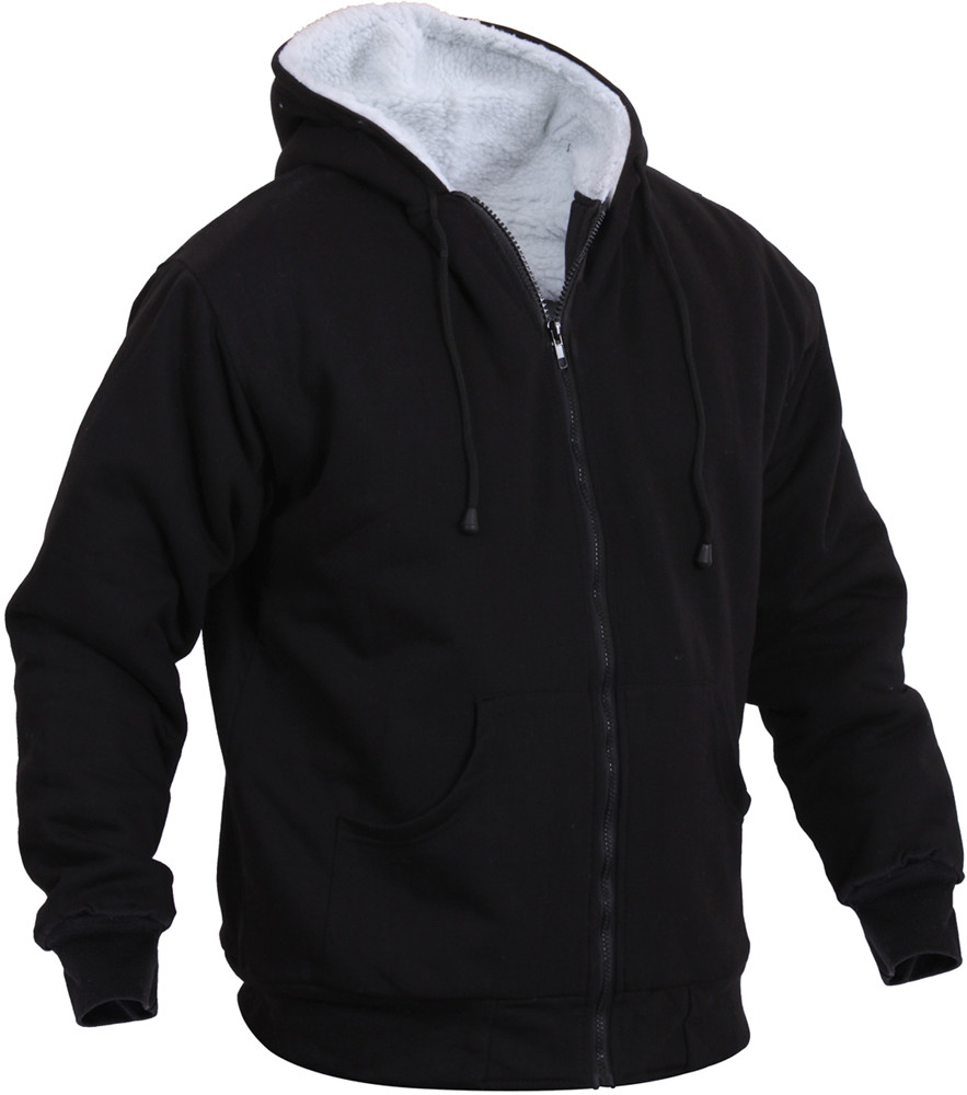 Black Sherpa-Lined Zip Up Hoodie Sweatshirt 580762909b3