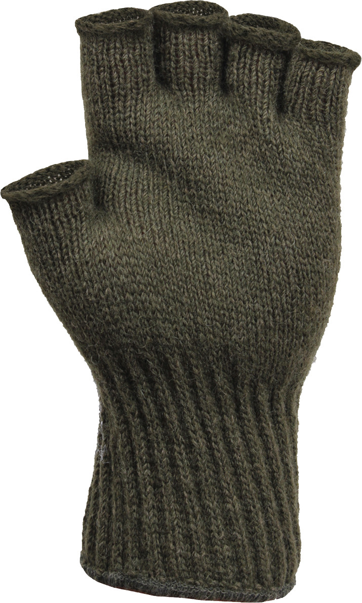 Olive Drab Tactical Fingerless Glove Liner Insert Wool