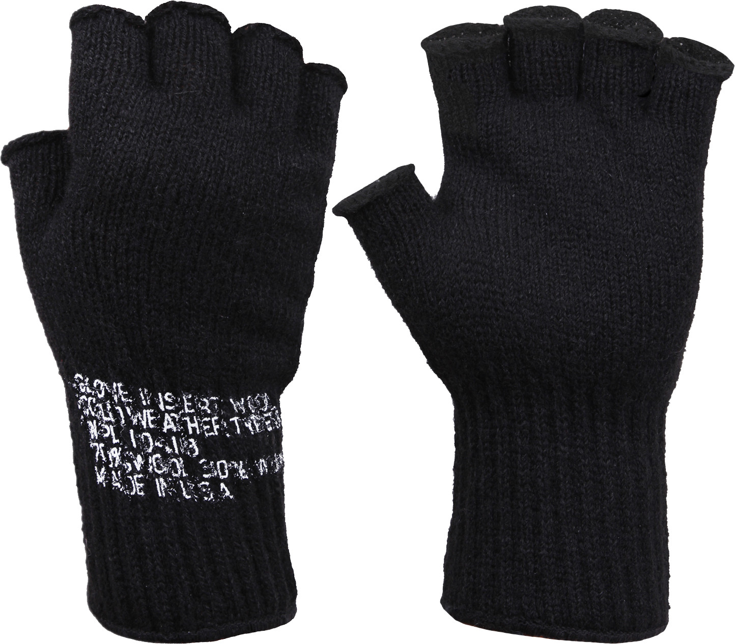 Black Tactical Fingerless Glove Liner Inserts Wool Gloves USA Made c5b0c9838eb