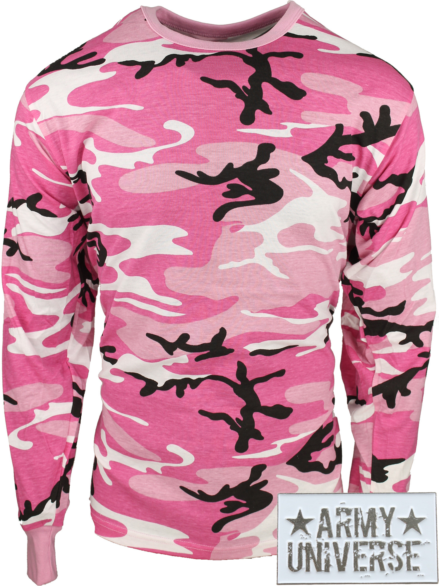 ... Pink Camouflage Military Crewneck Long Sleeve T Shirt w  ArmyUniverse®  Pin ... 1600bed988c