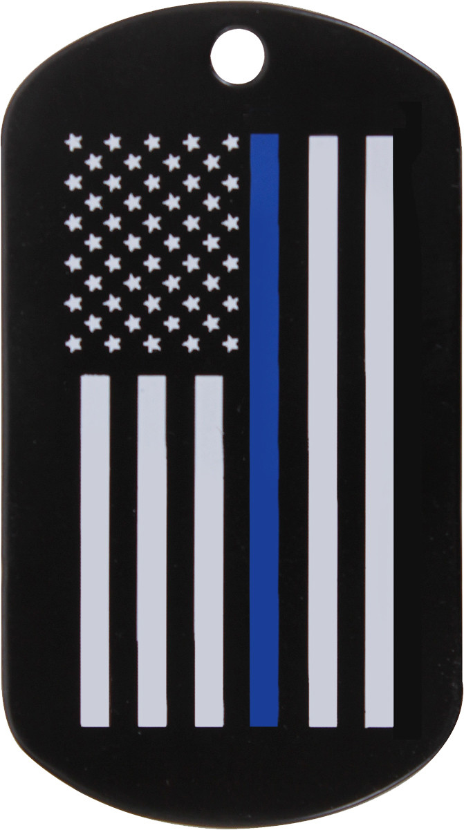 Black Police Thin Blue Line Subdued American Flag Military Dog Tag 8fc8d632187