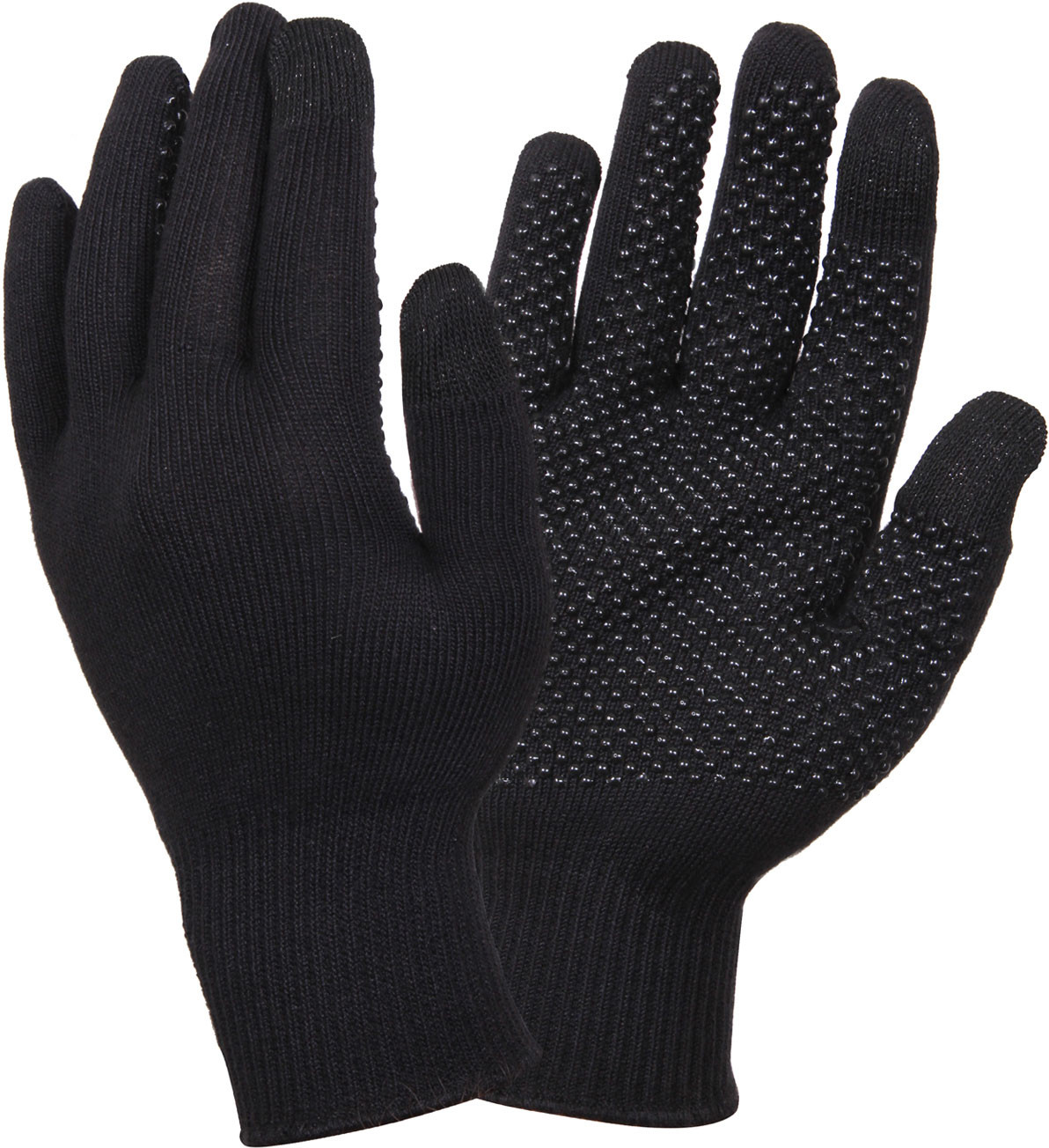 Black Touch Screen Gloves With Gripper Dots 4e683765ce9