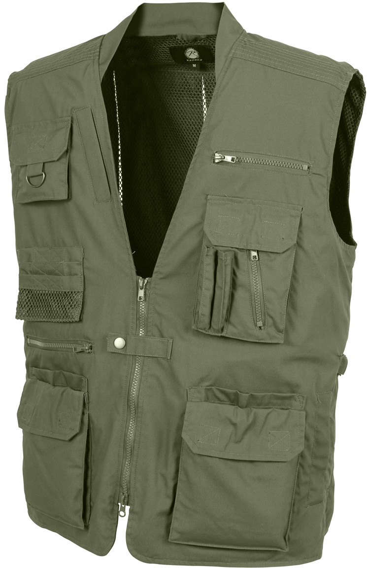 Olive Drab Multi-Pocket Cargo Tactical Concealed Carry Travel Vest 703b0d5d36f