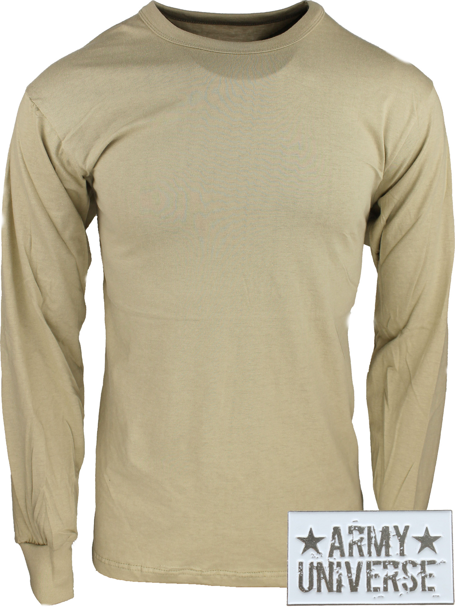 ... Khaki Military Crewneck Long Sleeve T Shirt w  ArmyUniverse® Pin ... da2edb94fe1