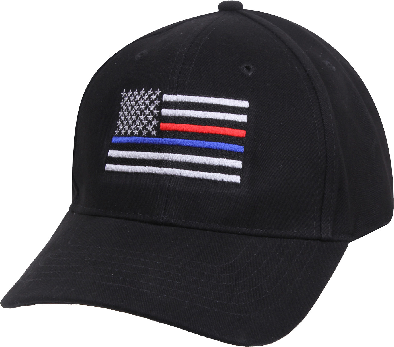 Black Thin Blue   Red Line US Flag Police   Firefighters Baseball Cap 0989107a0b8