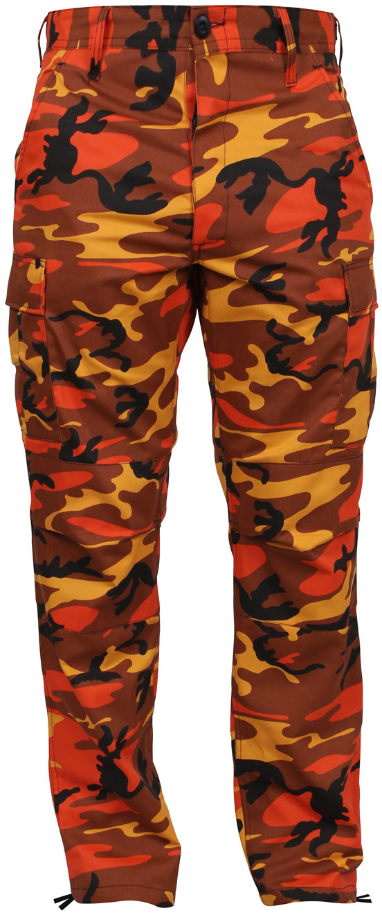 Savage Orange Camouflage Military Cargo BDU Fatigue Pants bed842589