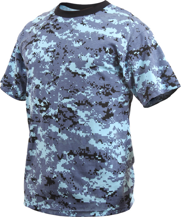 Sky Blue Digital Camouflage Kids Military Tactical T-Shirt 65c3027e477