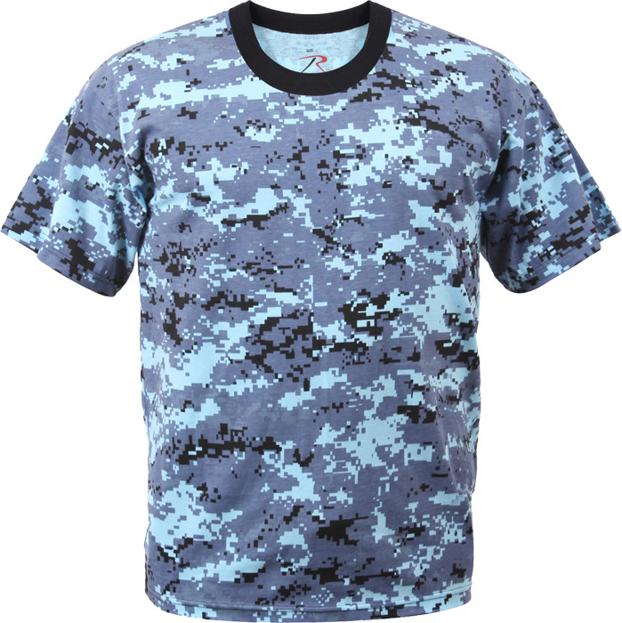 Sky Blue Digital Camouflage Kids Military Tactical T-Shirt 942bbebe3f8