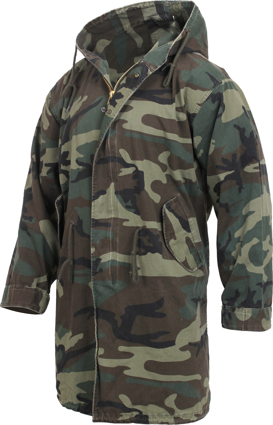 Woodland Camouflage Vintage US Army M51 Military Fishtail Parka Jacket b2a7ea0911d