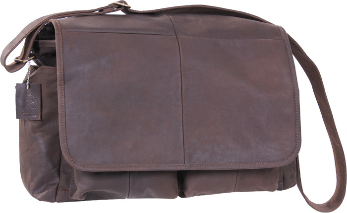 Brown Leather Heavy Weight Classic Messenger Shoulder Bag bc8e1021b86