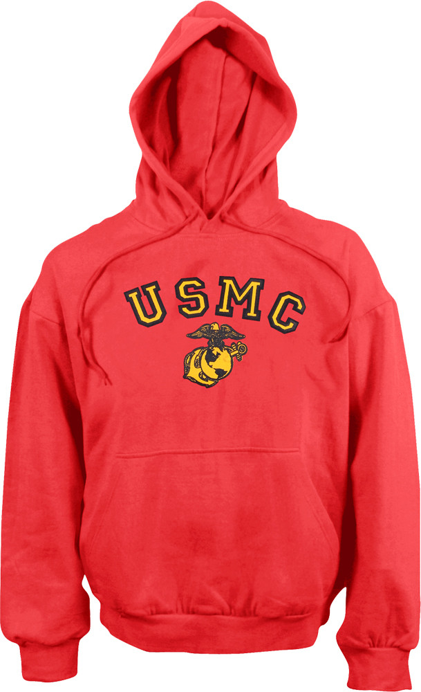 Red USMC Pullover Hooded Sweatshirt 81d6c3c782e